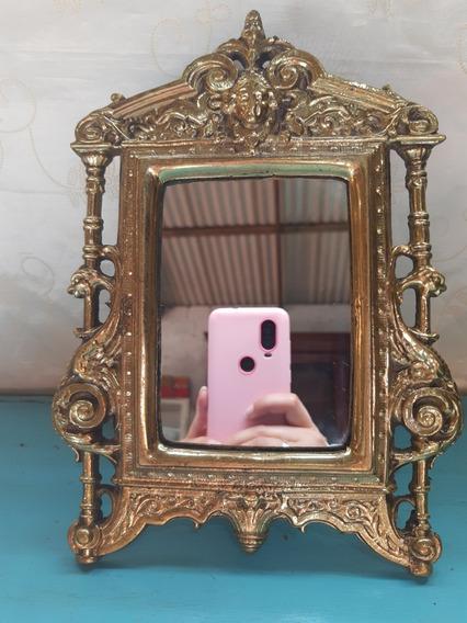 Porta Retrato Ou Espelho Em Bronze Antigo