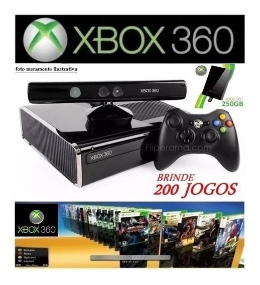 Xbox 360 Slim + Hd 250gb + 2 Controles + Kinect + 200 Jogos