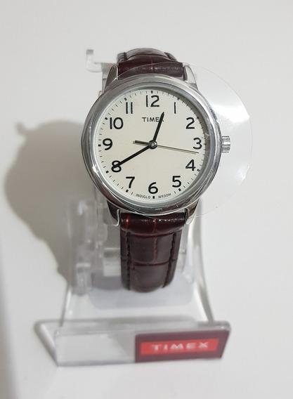 Relógio Feminino Timex Easy Reader 30mm Pulseira De Couro!