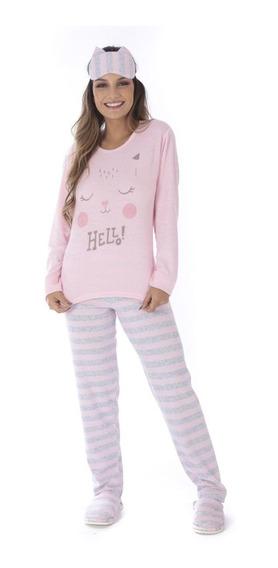 Roupa Dormir Inverno Pijama Feminino Adulto Frio Longo Plush