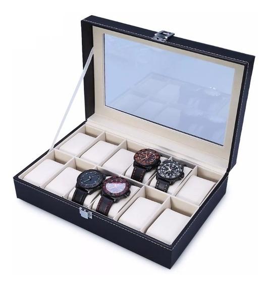 Caja Porta Reloj De 12 Organizador Estuche Relojes