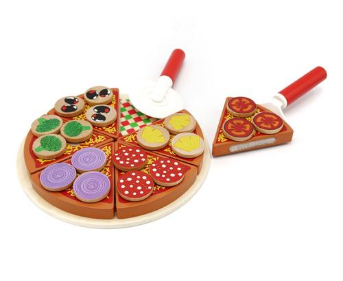 Pizza Madera Con Accesorios Para Cortar Y Servir