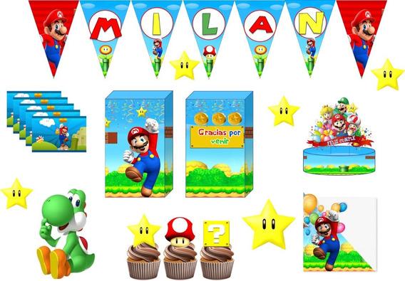 Combo X 5 Bolsitas Banderin Stickers Mario Bross