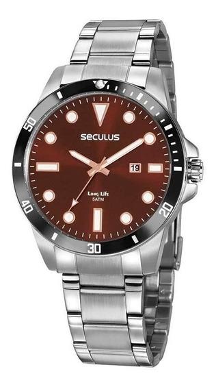 Relógio Prateado Seculus Masculino Long Life 20789g0svna2