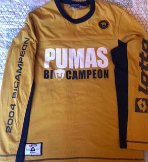 Playera Lotto Pumas Unam Bicampeon 2004 Manga Larga