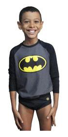 Camiseta + Sunga Infantil Batman Com Proteção Solar Uv 50+