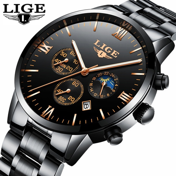 Relogio Lige Black Gold Aço Luxo Cronometro + Brinde