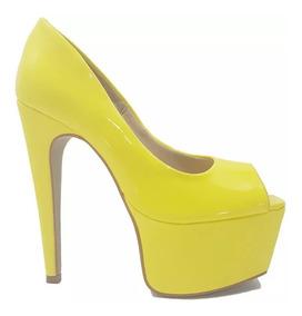 Sapato Feminino Salto Alto Verniz Amarelo Dom Amazona Cód 38