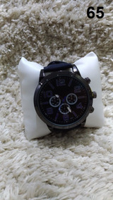 Relógio Masculino Preto Azul Pulseira Em Couro