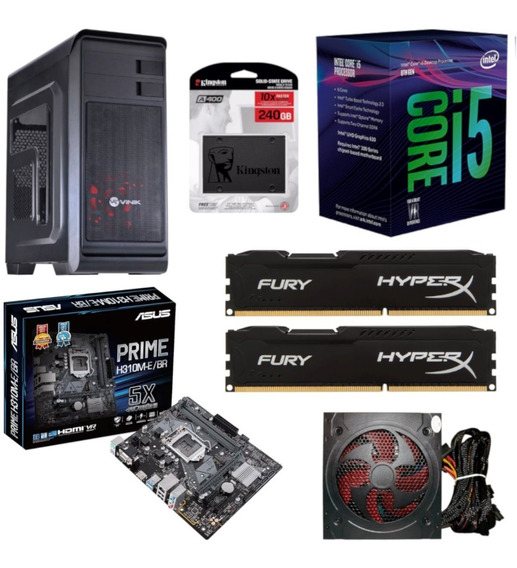 Pc Gabinete Hunter Intel I5 8400 Asus H310m E Br Hyperx Hx 16gb 2400mhz Kingston Ssd 240gb Fonte Bluecase Bc500