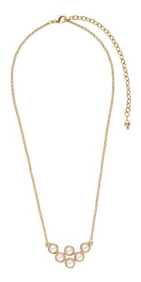 Collar De Baño De Oro Y Perlas Cream 120183l 2