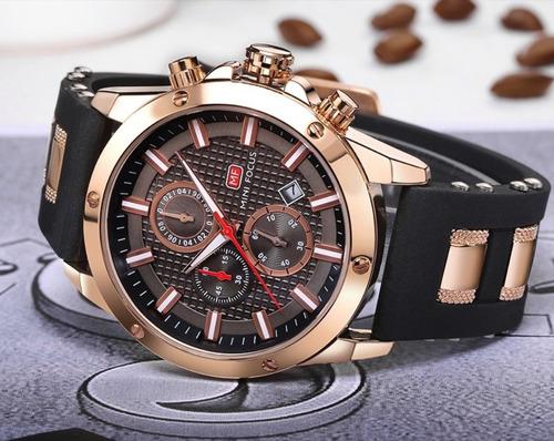 Relógio Masculino Original Social Dourado Minifocus Presente