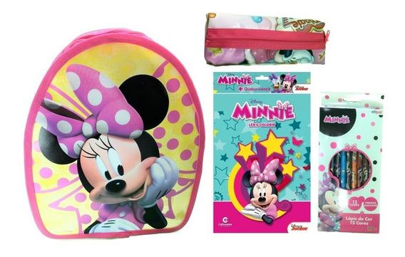 Kit Escolar Mouse Minnie Mochila De Costas Estojo Livro