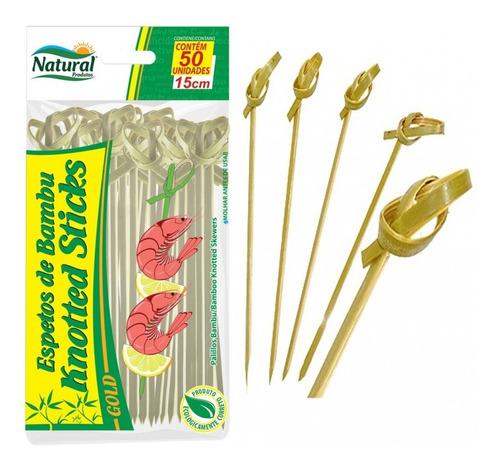 500 Unid Espeto Degustação Knotted Stick 15cm Bambu (nó)