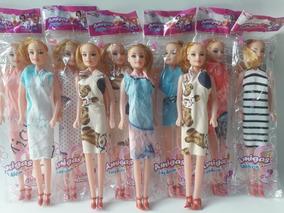 Atacado Kit Com 10 Bonecas Plástico Brinquedo Prenda Brinde