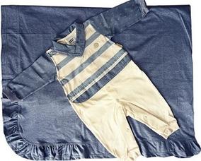 Saída De Maternidade Sonho Mágico Listrado Bege/jeans
