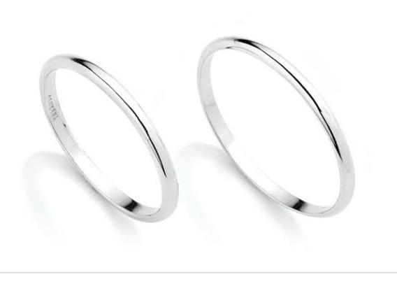 Par De Alianças Em Prata Fininhas 1mm Anéis