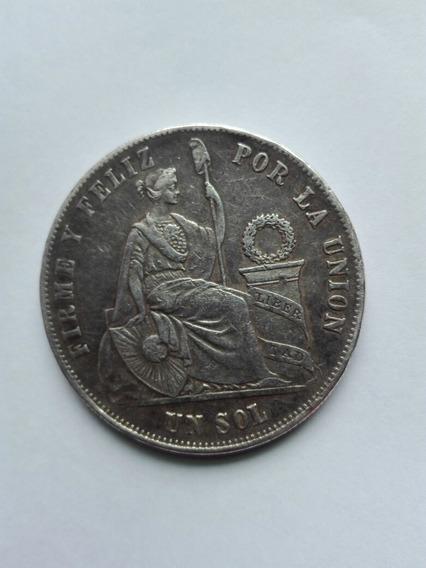 Moneda Peruana Un Sol 1875. De Plata 9 Decimos Finos.