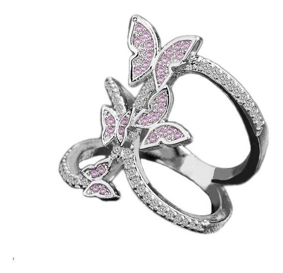 Anillo Mariposas Dama Zirconias Con Envio Gratis