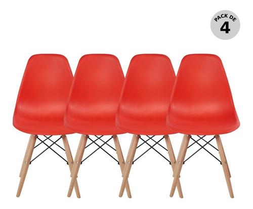 Set De 4 Sillas Modernas Eames Rojo Begonia