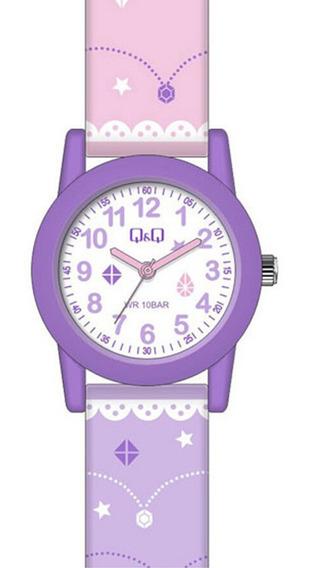 Relógio Infantil Feminino Roxo E Lilás Q&q Prova D