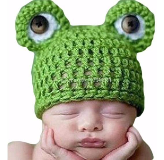 Gorro Tejido A Mano Para Bebé Niño Niña Disfráz De Rana