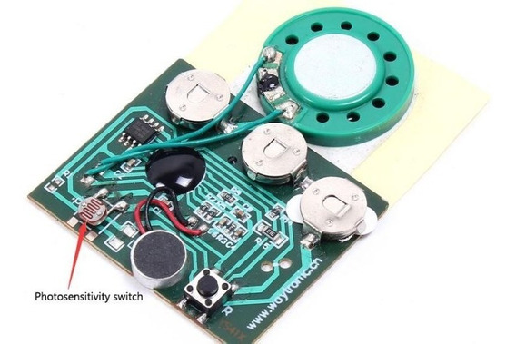 Gravador De Voz 30seg Tipo Carta Com Sensor Montado