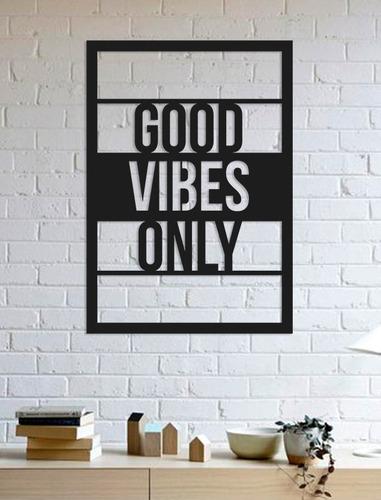 Imagem 1 de 2 de Quadro Decorativo Parede Escritas Good Vibes Only 90cm