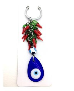 Chaveiro Amuleto Pimenta Vermelha E Olho Grego De Vidro
