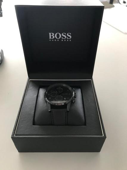 Relógio Hugo Boss Em Couro Preto - Original