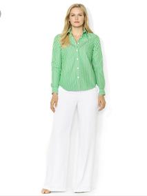 Ralph Lauren Camisa Blusa Top Rayas Verde Mediana No Tommy