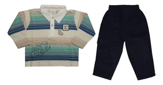 Conjunto Luxo Menino 02 Peças Infantil Polo E Calça Veludo