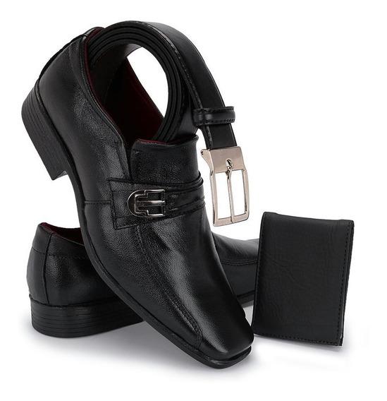 Sapato Social Masculino 100% Couro Kit Cinto + Carteira 902