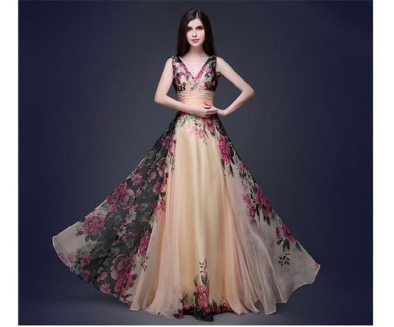Vestido Estampa Floral Com Cintura Alta Sob Medida