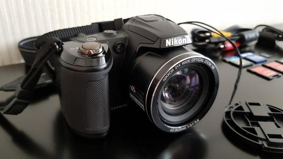 Câmera Digital Nikon Coolpix L120 (com 4 Cartões De Memória)