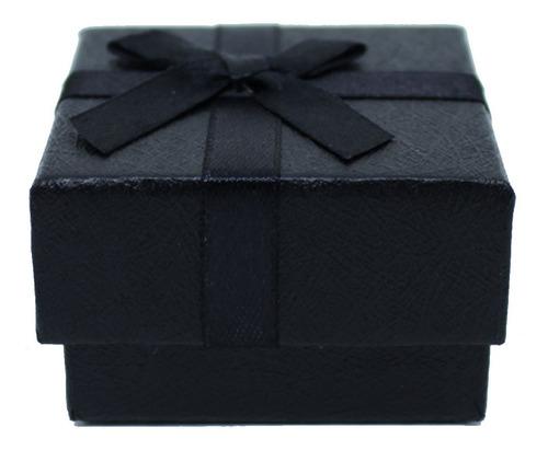 Caixinha Preta Com Laço Quadrada Para 1 Anel - 5,5 X 5,5 Cm
