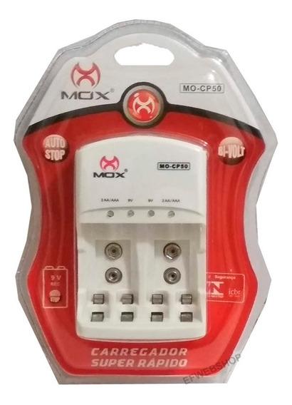 Carregador De Pilhas Mox Aa Aaa E Baterias 9v Com Led Cp50