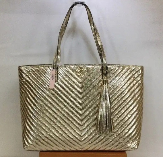 Victorias Secret Cartera Tote Dorada
