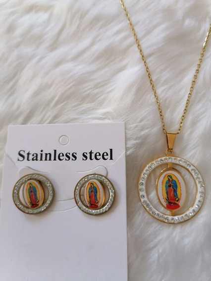 Virgen De GuadalupeLote De 3 Piezas Acero Inoxidable