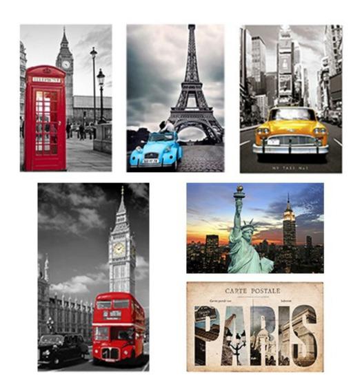 Placas Decorativas Nova York Londres Paris Retrô 20x30 30x20