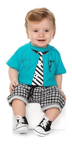 Roupa Bebê Menino Conjunto Camiseta Meia Manga E Bermuda