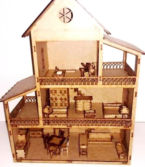 Casa Casinha De Boneca+36 Mini Móveis