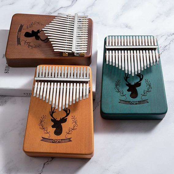 17 Chave Kalimba Madeira Polegar Piano Sólido Mogno Azul Pav