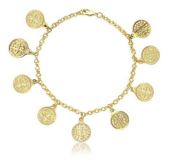 Pulseira Medalhas São Bento Semijoia Banhada A Ouro Amarelo