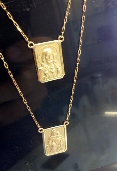 Escapulário Ouro 18k Grande Corrente 60cm C/ Garantia E Nfe
