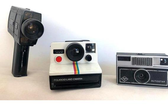 Coleção Câmeras Clássicas- Polaroid, Agfa E Chinon- Raridade