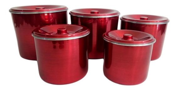 Porta Mantimento Jogo De Lata Alumínio Vermelho Brilho 5 Pç