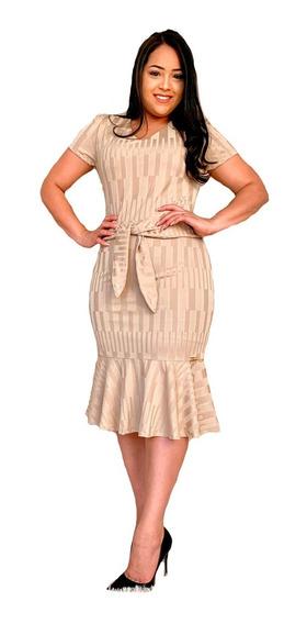 Vestido Bege Moda Evangelica Lancamento