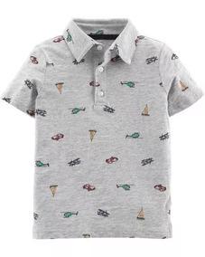 Carters Camiseta Polo Menino Estilo Social Algodão Cinza Car