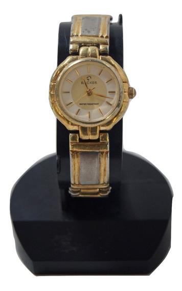 Relógio De Pulso Feminino Backer Dourado E Prata.